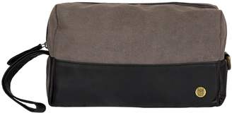 MAHI Leather - Canvas & Leather Classic Wash Bag In Black & Grey