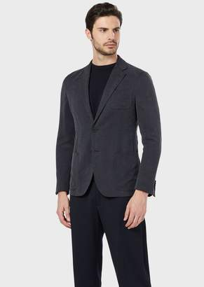 Giorgio Armani Regular-Fit Upton Range Deconstructed Jacket In Micro-Patterned Washed Cupro