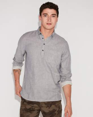 Express Slim Solid Long Sleeve Popover Shirt