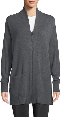 Lafayette 148 New York Shawl-Collar Zip-Front Cashmere Cardigan