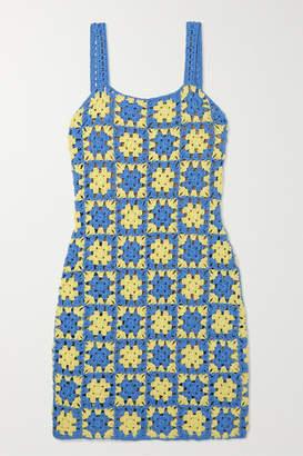 STAUD Turbo Crocheted Cotton Mini Dress - Blue