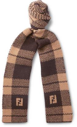 Fendi Logo-Jacquard Checked Wool Scarf