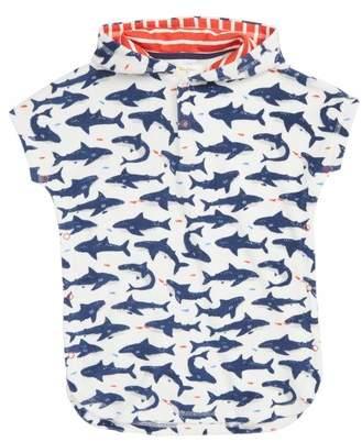 Mini Boden Shark Print Hooded Cover-Up