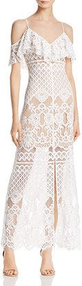 WAYF Luxia Cold-Shoulder Lace Dress $128 thestylecure.com