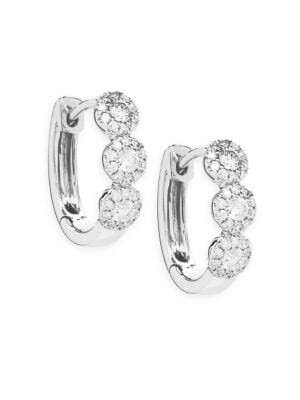 Saks Fifth Avenue Diamond and 14K White Gold Huggie Earrings