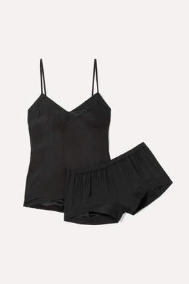 Three J NYC Bardot Silk Pajama Set - Black