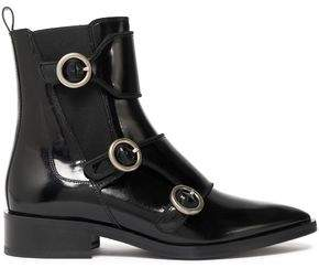 Lanvin Buckled Glossed-Leather Ankle Boots