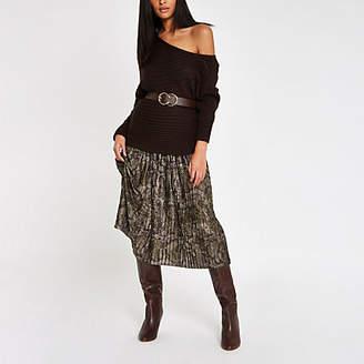 River Island Khaki snake print pleated midi skirt