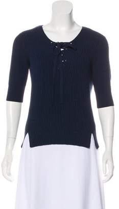 Veronica Beard Rib Knit Lace-Up Sweater w/ Tags