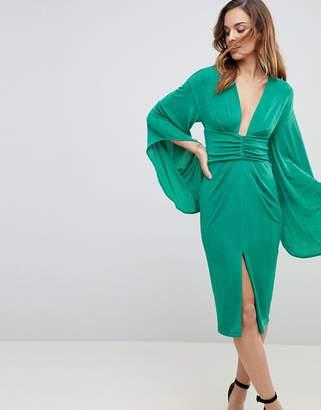Asos DESIGN Deep Plunge Slinky Kimono Midi Dress
