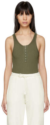 Alexander Wang Green Stretch Rib Bodysuit