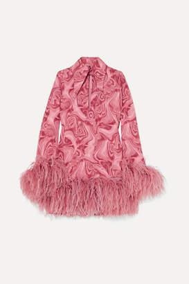 16Arlington Michelle Feather-trimmed Printed Crepe De Chine Mini Dress - Pink