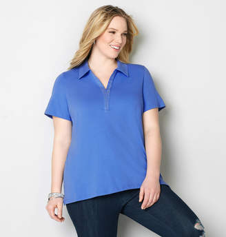Avenue Rhinestone Placket Polo Top