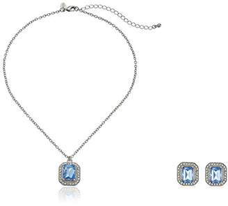 1928 Jewelry Silver-Tone Light Blue Earrings and Necklace Jewelry Set