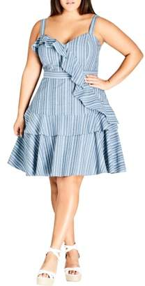 City Chic Summer Ruffle Stripe Dress