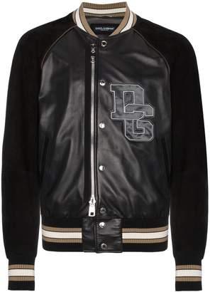 Dolce & Gabbana Leather bomber jacket with logo