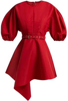 Marques Almeida Marques'almeida - Asymmetric Belted Taffeta Dress - Womens - Red
