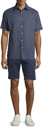 Neiman Marcus Stretch-Cotton Cargo Shorts, Navy