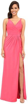 Faviana Satin Faille V-Neck Gown w/ Lightly Rouched Bodice Delicate Draping On Skirt 7755 Women's Dress