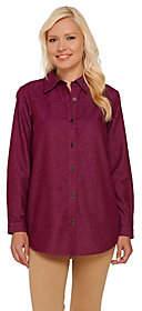 Joan Rivers Classics Collection Joan Rivers Classic Denim Boyfriend Shirtwith Pockets