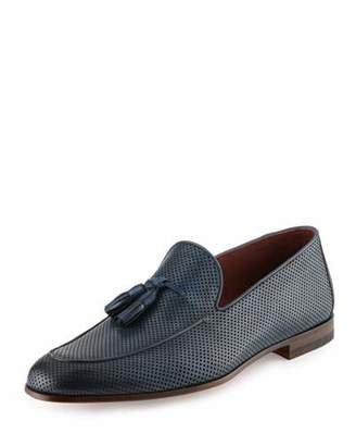 Magnanni for Neiman Marcus Perforated Leather Tassel Loafer, Blue $395 thestylecure.com