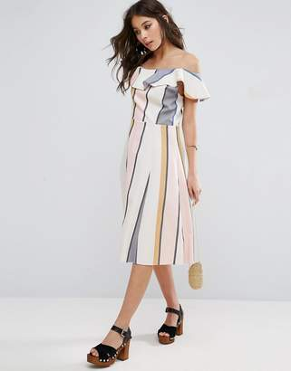 ASOS One Shoulder Ruffle Detail Sundress in Natural Fibre Stripe $60 thestylecure.com