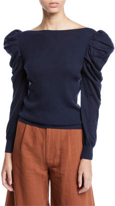 Co Puff-Sleeve Boat-Neck Fine Cashmere Sweater