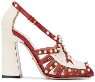 Gucci Red Tracy 110 Pearl Studded pumps