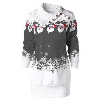 Auwer Vintage Dresses for Women Christmas,Womens Christmas Santa Claus Snowflake Print Plus Size Tunic Sweatshirt Dress,Girls' Skirts & Skorts