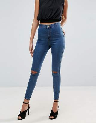 Asos Rivington High Waist Denim Jeggings In Judith Mid Wash With Rips