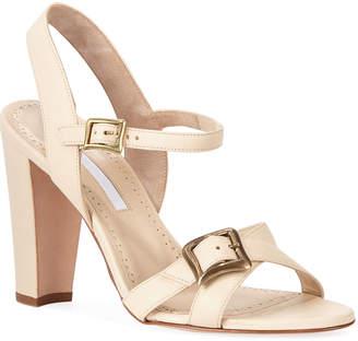 725742bf86b Manolo Blahnik Rioso Leather Block-Heel Buckle Sandals
