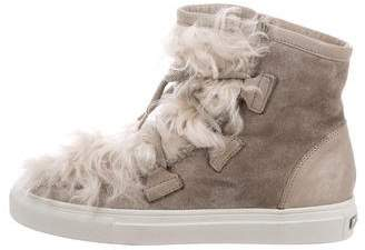Kennel + Schmenger Shearling-Trimmed High-Top Sneakers