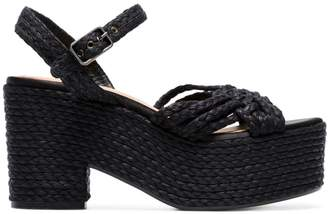 Castaner black woven raffia 100 platform sandals