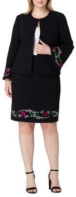 Tahari Arthur S. Levine Plus Embroidered Open-Collar Jacket and Skirt Suit