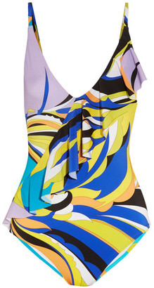 Fiore Maya Ruffle-trimmed Printed Swimsuit - Blue