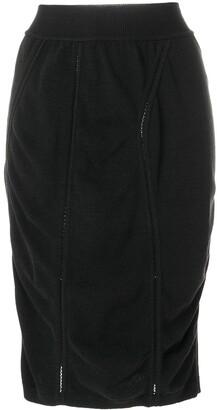 Alaia Pre-Owned 1980's midi draped pencil skirt