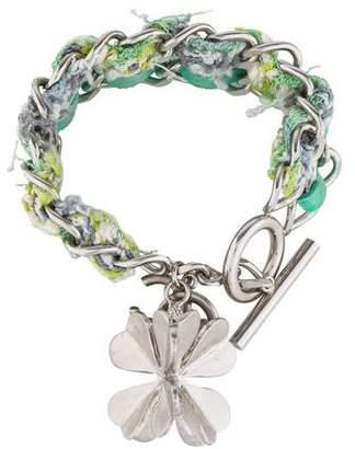 Chanel Woven Four Leaf Clover Charm Bracelet
