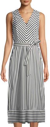 Label By 5twelve Striped Culotte Tie-Waist Cropped Jumpsuit