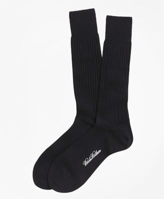 Brooks Brothers Merino Wool Ribbed Crew Socks