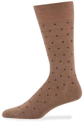 Marcoliani Men's Dot-Pattern Cotton Socks