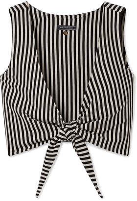 MDS Stripes - Clair Cropped Tie-front Striped Cotton-jersey Top - Black