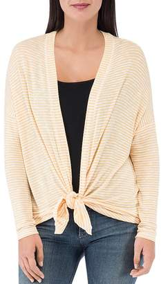 Bobeau B Collection by Cecile Striped Tie-Front Cardigan