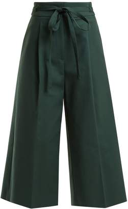 Rochas Pleated stretch-cotton cropped trousers