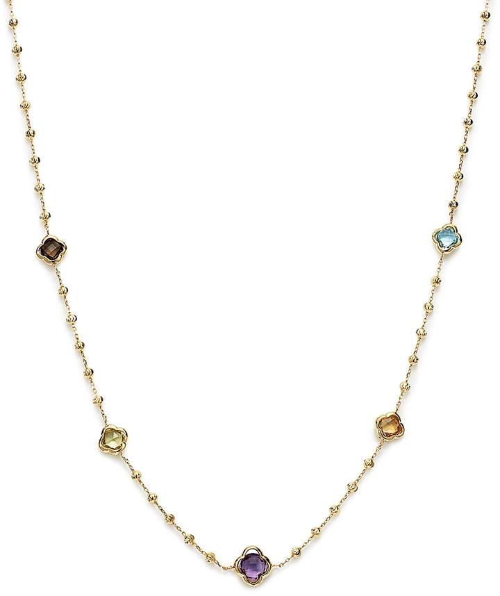 Beaded Multi Gemstone Clover Station Necklace in 14K Yellow Gold, 19 - 100% Exclusive