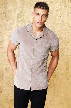 boohoo Short Sleeve Velour Revere Muscle Fit Shirt