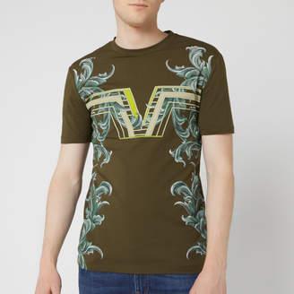 Versace Men's V Floral Print T-Shirt