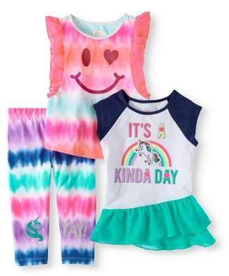 365 Kids From Garanimals Little Girls' 4-8 Raglan Peplum T-Shirt, Print Flutter Sleeve T-Shirt, And Print Graphic Leggings 3-Piece Outfit Set