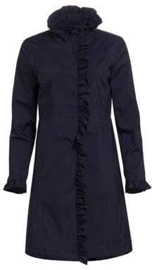 Jane Post Women's Crunch Ruffle Front Trench Coat - Navy - Size XS