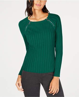 INC International Concepts I.n.c. Zipper-Detail Raglan Sleeve Sweater