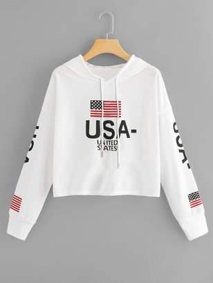 Shein Letter & American Flag Drawstring Hoodie Sweatshirt